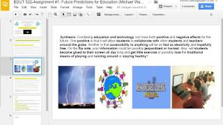 EDUT 522 - Assignment #1: Future Predictions for Education (Michael Wallace and janell Chang)
