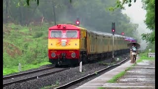 ALL HAIL : Mumbai - Goa Tejas Express in RAIN with Matching KYN WDP3A : MONSOON KONKAN RAILWAY