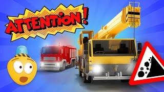 Fire Brigade & Construction Vehicles! Cartoon For Kids About Fire Trucks   Street Vehicles Video