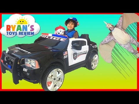 Police Car Power Wheels Ride On for kids Paw Patrol Chase save Marshall Huge Egg Surprise Toys