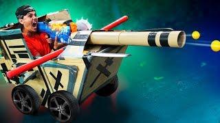 NERF *GIANT* Box Tank Challenge