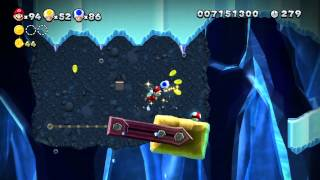 New Super Mario Bros U 100% Walkthrough - Super Star Road 4 (Hammerswing Caverns)
