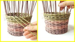 Плетение прямой и обратной веревочкой в 3 трубочки (плавный незаметный переход)