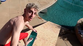 WE BUILT A GIANT RAMP FROM OUR ROOF INTO THE POOL!! *insane*