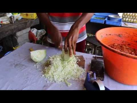 fast cabbage cutting and slicing by Indian street food vendor - knife skills JULIENNE
