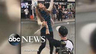 Skateboarder pulls off extreme skating trick to propose