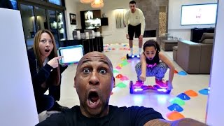 CRAZY HOVERBOARD CHALLENGE IN OUR HOUSE! Family Fun Games | Famtastic