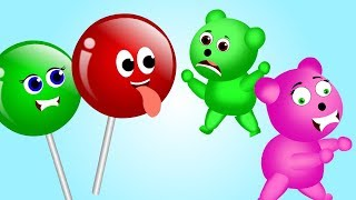 Gummy bear Little Baby Crying attacked by mutant lollipop Ice Cream finger family nursery rhymes fun