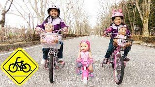 謎の自転車娘に追い越された><サイクリングで追いかけっこ遊び☆Little Mommy Bicycle doll himawari-CH