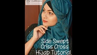Side swept criss cross hijab tutorial by Tabassum