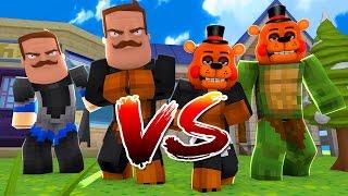 Minecraft - HELLO NEIGHBOR Vs FNAF FREDDY - BABY MAX TURNS INTO FREDDY - w/ Tiny Turtle, Scuba Steve