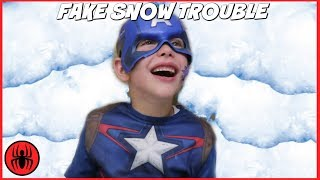 Captain America vs Freak Fly Bug Bites Attack v Giant Snow Monster FAKE SNOW TROUBLE! SuperHero Kids