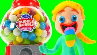 FROZEN ELSA, HULK & THE GUMBALL MACHINE ❤ Superhero Babies Play Doh Cartoons For Kids