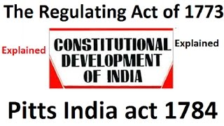 Constitutional Development Series | Regulating  and Pitts India act 1784