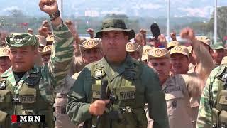 Venezuela: Military and civil militia members rally on Las Tienditas border bridge