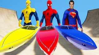 SUPERMAN & SPIDERMAN COLOR EPIC PARTY BOAT COLORS Fun Cartoon for Kids l Nursery Rhymes for Children