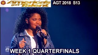 """Amanda Mena  """"What About Us"""" AWESOME Spanish-English Quarterfinals 1 America's Got Talent 2018 AGT"""