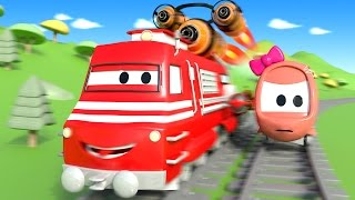 Troy The Train : The RACE in Train Town -  Cars & Trucks construction cartoon for children