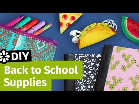 DIY Back to School Supplies Pencil Case Cord Taco & Mini Notebooks Sea Lemon