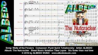 Sheet Music Notation Time Lapse. ALBEDO The Nutcracker. Waltz of the Flowers. Tchaikovsky.
