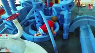 Big blue foam blocks indoor playground for kids . Many forms and sizes blocks to playing.