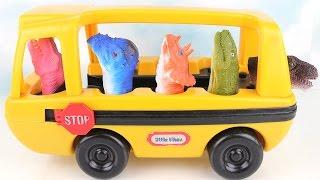 Dinosaurs finger Toys With School Bus. T Rex Stegosaurus Triceratops  Velociraptor Learn Dinosaurs