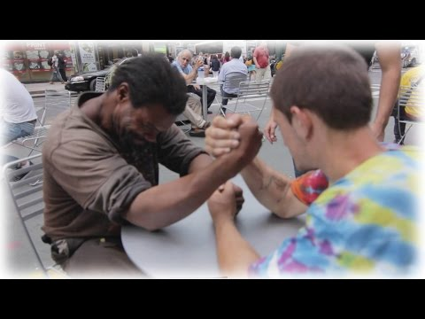 Making Homeless Guys Arm Wrestle For Money