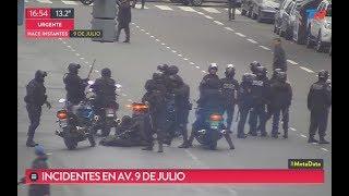 Incidentes con la policía por piquete en la 9 de Julio