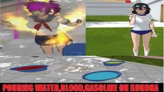 POURING WATER,BLOOD,GASOLINE ON KOKONA | Yandere Simulator