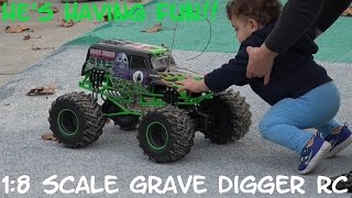 Playing His 1:8 Scale RC Monster Jam Truck Grave Digger at the Park