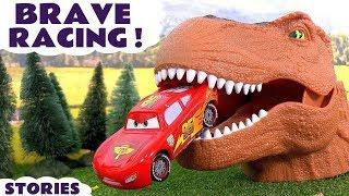 Disney Cars Toys Scary Racing with Dinosaur and Hot Wheels Cars for Kids Spiderman Batman TT4U