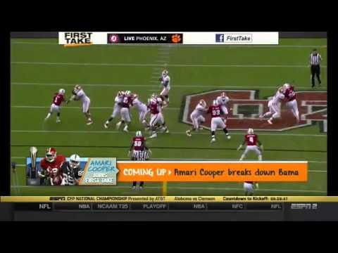 First Take ESPN 1 11 2016 Alabama vs Clemson 2016 College Football Playoff Championship