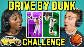 COLLEGE KIDS REACT TO DRIVE BY DUNK CHALLENGE #DriveByDunkChallenge