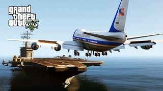 GTA 5 Mods - Air Force One Landing On Aircraft Carrier? (GTA 5 Funny Moments)