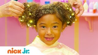 How to Create a Hair Buns w/ Sparkles ✨ Style Files Hair Tutorial | Sunny Day | Nick Jr.