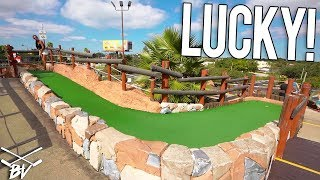 GIRLFRIEND GETS LUCKIEST MINI GOLF HOLE IN ONE EVER!