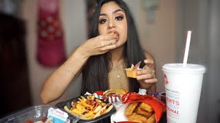 WENDY'S LIMITED EDITION BACON QUESO BURGER+BACONATOR FRIES+10 PC CHICKEN NUGGETS MUKBANG/EATING SHOW