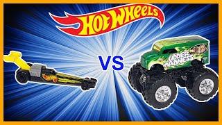 TOP FUEL DRAGSTERS vs MONSTER TRUCKS - Hot Wheels!