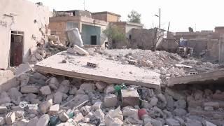 دمار في منازل المدنيين نتيجة قصف الطيران لكفربطيخ بريف إدلب