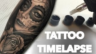 TATTOO TIME LAPSE  / ROSE + DAY OF THE DEAD PORTRAIT