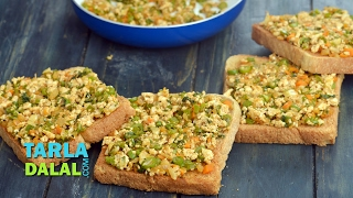 Open Paneer Masala Toast ( Healthy Breakfast )by Tarla Dalal