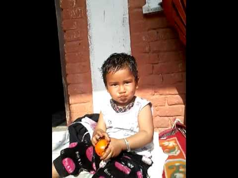 Shargav (12 months baby) Eating Fruits in Kathmand
