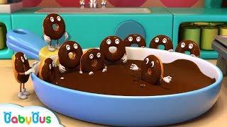 Baby Panda Makes Chocolate Donuts | Panda
