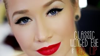 Classic Thick Winged Eye & Red Lip Completed Look (Super Easy) + Extra Tips/Tricks