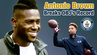 Antonio Brown Breaks Odell's One-Handed Catch for the Guinness World Record | NFL