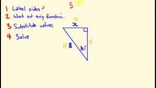 Sin Cos Tan - Basic Trigonometry  -  Working out unknown sides