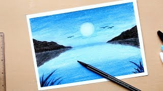 Moonlit Night Scenery Drawing With Oil Pastels For Beginners