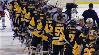 Handshakes: Penguins and Blue Jackets line up after hard fought series