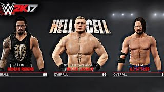WWE 2K17 - AJ Styles vs Brock Lesnar vs Roman Reigns TRIPLE THREAT HELL IN A CELL MATCH GAMEPLAY