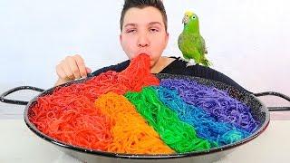 Rainbow Noodle Challenge • MUKBANG